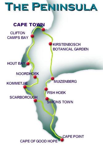 Cape Peninsula Tour Route Map
