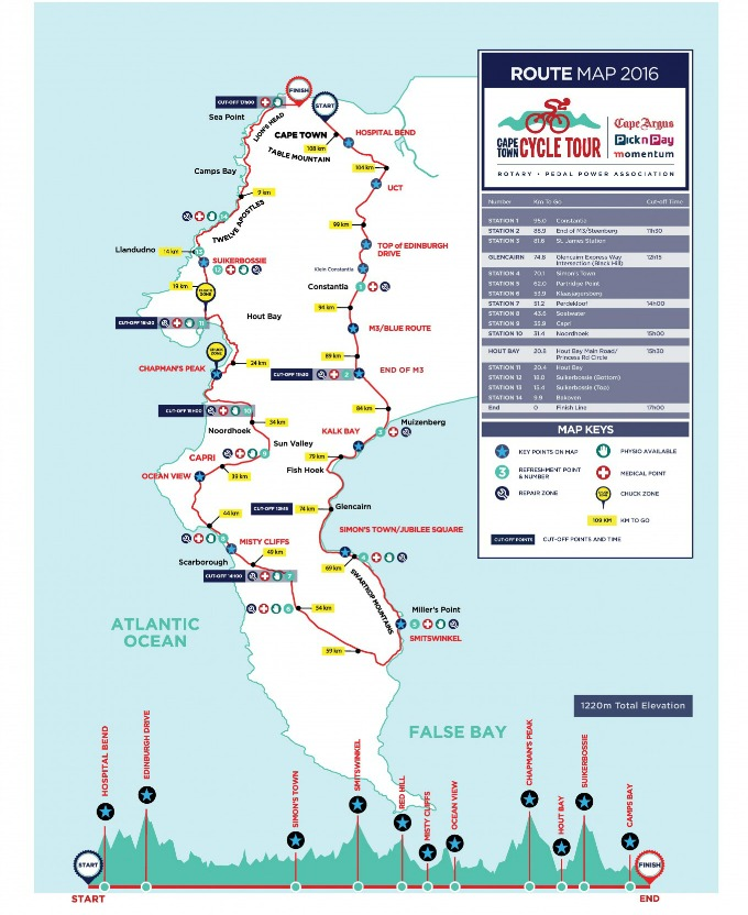 2016 Cape Cycle Tour Route
